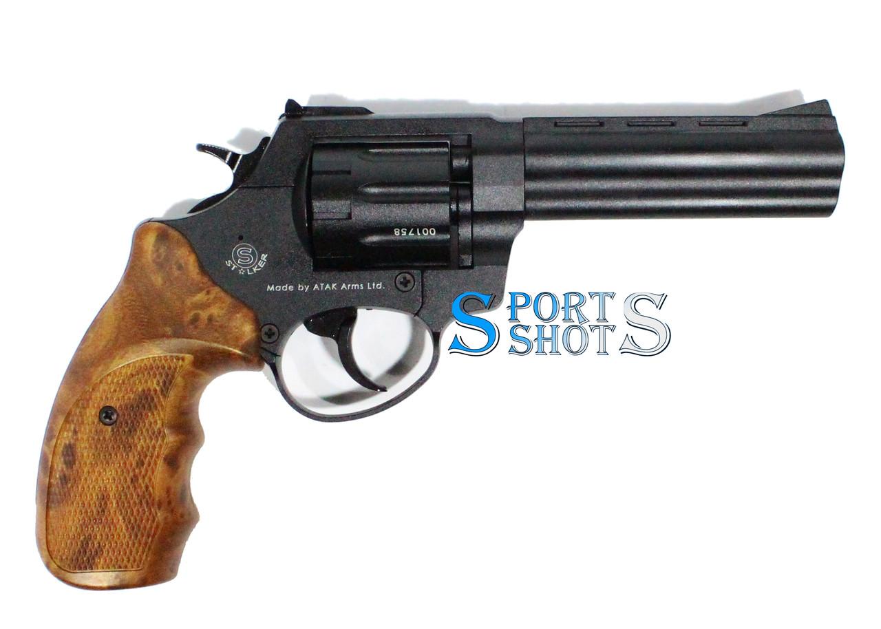 """Револьвер Stalker 4.5"""" zac чёрный матовый / рукоять под дерево"""