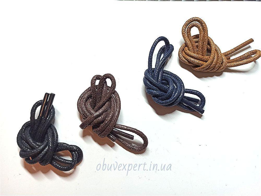 Шнурки обувные вощенные Круглые, d=2,5 мм, цв. в ассортименте