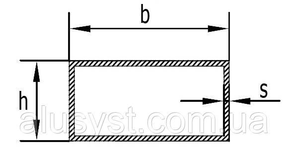 Труба 40х25х2 алюмінієва профільна прямокутна / без покриття
