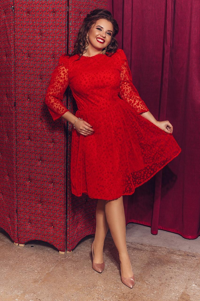 Женское элегантное платье с кружевной сеткой т.м. Амбре AM1740