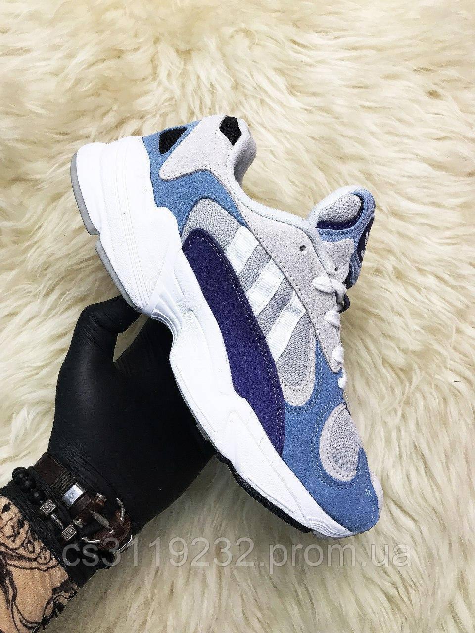 Женские кроссовки Adidas Yung 1 Grey Blue (серо-голубые)