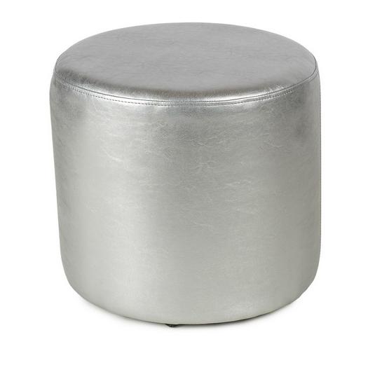 Пуф ПФ-5 круглый серый металик - экокожа 35х35х42 см.пуфик,пуфики,пуф кожзам,пуф экокожа,банкетка,ба