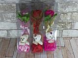 Подарочный набор Мишка и Роза из мыла 28.5см розовый, фото 2