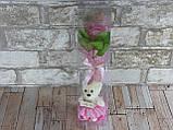 Подарочный набор Мишка и Роза из мыла 28.5см розовый, фото 4