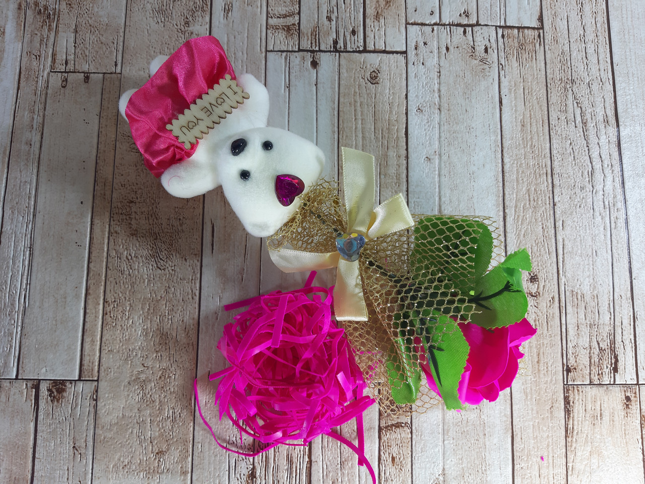 Подарочный набор Мишка и Роза из мыла 28.5см розовый