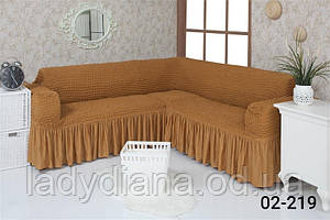 Чохол на кутовий диван з оборкою, натяжна, жатка-креш, універсальний, Concordia 02-200