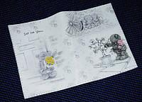 Женская обложка для паспорта -Мишка тедди коллаж-
