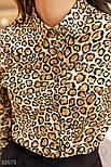 Женская блуза в леопардовый принт бежево-коричневая, фото 4