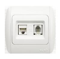Розетка комбинированная ABB El-bi ZIRVE Natural компьютерная 6Е + телефонная для внутреннего монтажа, белая