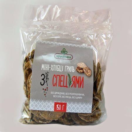 Зернові хлібці Гриль, 150г, Хрустики