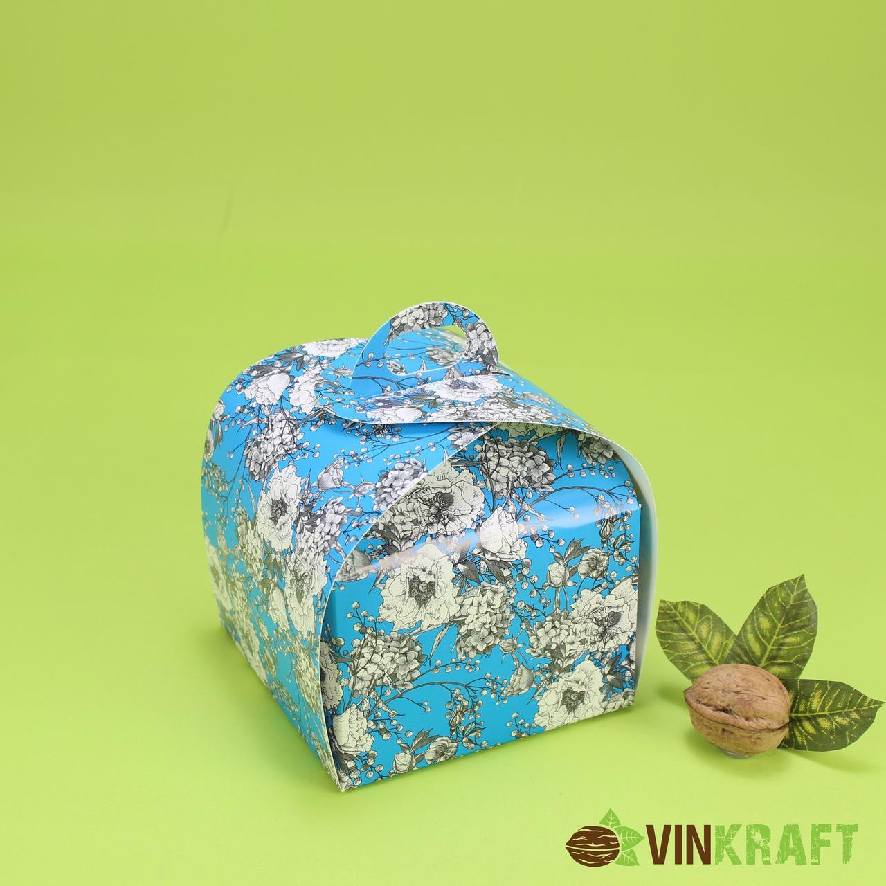 Коробка 110*110*110 для десертів,  синий орнамент