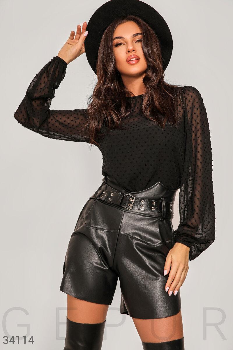 Прозрачная шифоновая блуза в горошек с флоковым напылением
