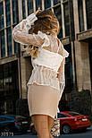 Стильна мереживна блуза прямого крою з об'ємними рукавами біла, фото 3