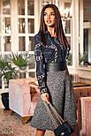 Расклешенная юбка-миди в деловом стиле с поясом из экокожи, фото 2