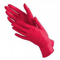 Нитриловые красные перчатки  размер S