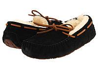 Мокасины UGG Dakota Black Slipper Оригинал черные с шнурками, фото 1