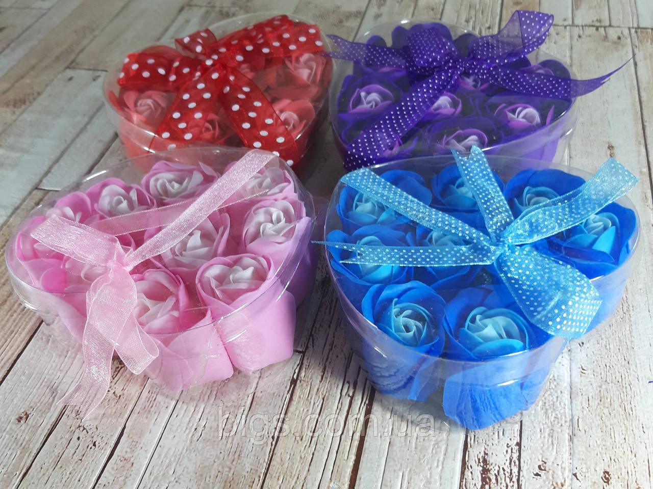 Набор подарочное мыло розы 9 бутонов фиолетовое ( подарок на 14 февраля )