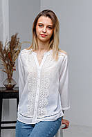 Стильна літня жіноча біла гаптована шифонова блуза №2027-1