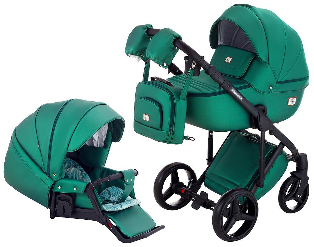 Универсальная детская коляска  2 в 1 Adamex Luciano кожа 100% Q117 зеленый (изумруд) перламутр