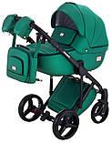 Универсальная детская коляска  2 в 1 Adamex Luciano кожа 100% Q117 зеленый (изумруд) перламутр, фото 2