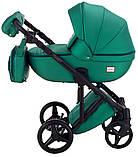 Универсальная детская коляска  2 в 1 Adamex Luciano кожа 100% Q117 зеленый (изумруд) перламутр, фото 3