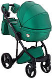 Универсальная детская коляска  2 в 1 Adamex Luciano кожа 100% Q117 зеленый (изумруд) перламутр, фото 4