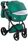 Универсальная детская коляска  2 в 1 Adamex Luciano кожа 100% Q117 зеленый (изумруд) перламутр, фото 5