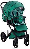 Универсальная детская коляска  2 в 1 Adamex Luciano кожа 100% Q117 зеленый (изумруд) перламутр, фото 6