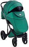 Универсальная детская коляска  2 в 1 Adamex Luciano кожа 100% Q117 зеленый (изумруд) перламутр, фото 7