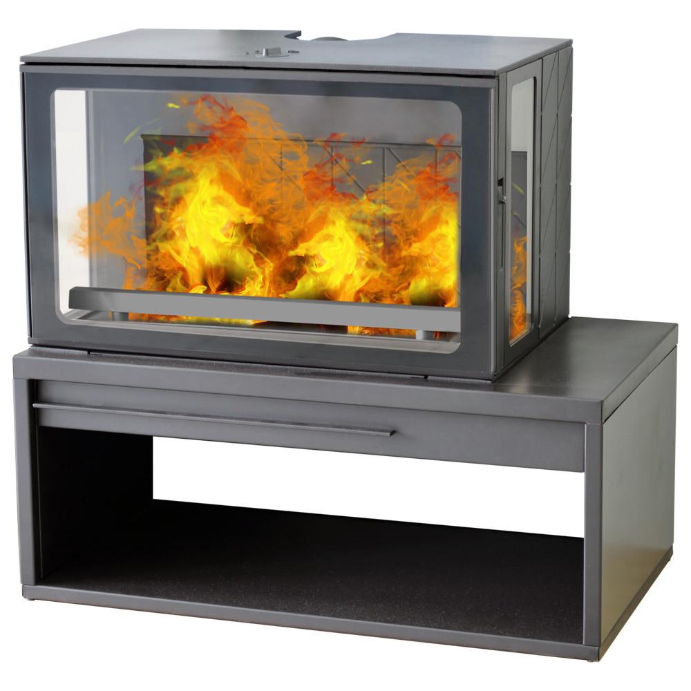 Піч з бічними стеклами на підставці-дровнице Plamen Eco Minimal 50