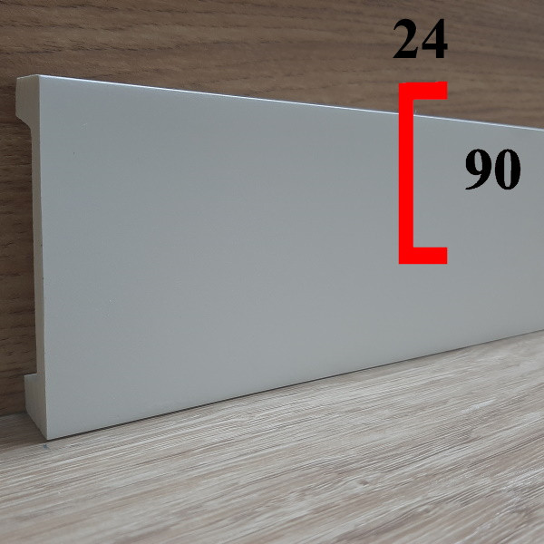 Плинтус с кабель-каналом из полиуретана грунтованный под покраску 24х90, длина 2,44