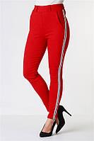 Женские брюки лосины стрейч котон красные с лампасом VS 1024