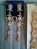 """Комплект удлиненные вечерние серьги"""" под золото"""" с  камнями и браслет, высота 10,5 см., фото 3"""