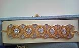 """Комплект удлиненные вечерние серьги"""" под золото"""" с  камнями и браслет, высота 10,5 см., фото 4"""