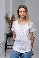 Стильна літня жіноча ажурна біла батистова блуза №2028-1