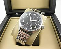 Часы IWC Schaffhausen Pilot`s 42mm (механика) Silver/Black. Реплика ААА.