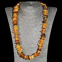 Бусы из шлифованных самородков янтаря, 55 см., 748БСЯ