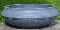 Вазон уличный ф 750 мм, садово - парковый пластиковый для цветов (Термочаша - двойные стенки) Серый гранит