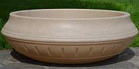 Вазон уличный ф 750 мм, садово - парковый пластиковый для цветов (Термочаша - двойные стенки) Песчаник