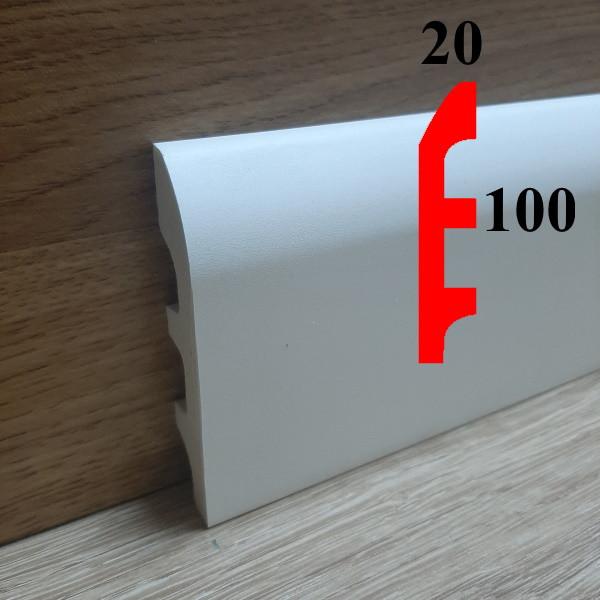 Широкий интерьерный плинтус из полиуретана грунтованный под покраску 20х100, длина 2,44