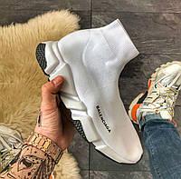 Balenciaga Speed Trainer White | кроссовки мужские и женские; белые; летние; высокие; как носки