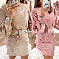 Модное вельветовое женское платье