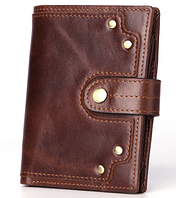 Мужской кожаный кошелек. Портмоне мужское в ретро стиле. Натуральная кожа ЕК40