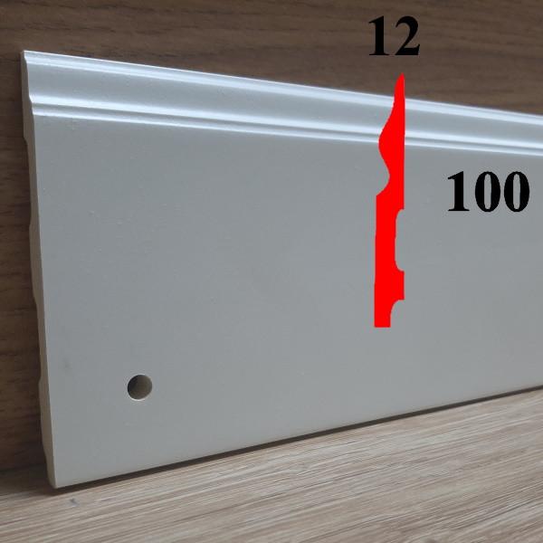 Тонкий дизайнерский плинтус из полиуретана грунтованный под покраску 12х100, длина 2,44