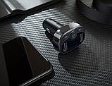 Автомобильный Адаптер FM трансмиттер модулятор BASEUS T typed with Bluetooth FM + зарядка 2.4A/1A + вольтметр, фото 5