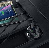 Автомобильный Адаптер FM трансмиттер модулятор BASEUS T typed with Bluetooth FM + зарядка 2.4A/1A + вольтметр, фото 4