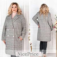 Модное клетчатое пальто женское, двубортное 48-50