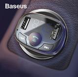 Автомобильный Адаптер FM трансмиттер модулятор BASEUS T typed with Bluetooth FM + зарядка 2.4A/1A + вольтметр, фото 2
