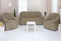 Чехлы натяжные на диван 3-х местный и два кресла Venera 01-220 (универсальные) Серый