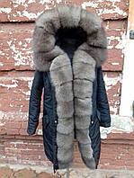 Женская зимняя парка куртка с натуральным мехом песца под соболь
